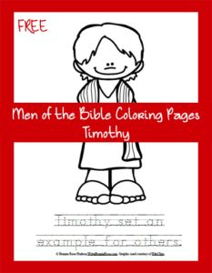 FREE Men of the Bible Coloring Page-Timothy. Each of us, regardless of our age or anything else in life, has a responsibility to set an example for others to follow. We are called to faithfully serve God with everything we are so that God's work in us can clearly be seen. As we talk to children about the life of Timothy, let's encourage them that they can do anything God has called them to do – and that they have a responsibility to do so. - WriteBonnieRose.com