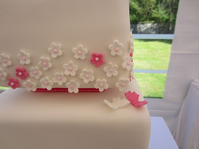 Butterfly blossom detail on 3 tier square wedding cake   Flickr - Photo Sharing!