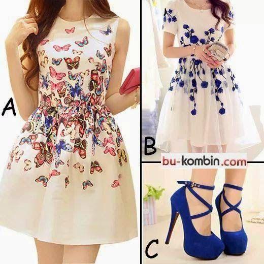 Çiçek Kelebek Desenli Beyaz Mini Elbise Kombini Saks Mavi   BuKombin (Moda Trend Stil) Kombin Modelleri
