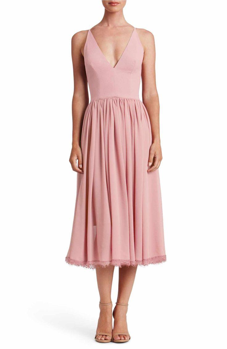 Main Image - Dress the Population Alicia Mixed Media Midi Dress