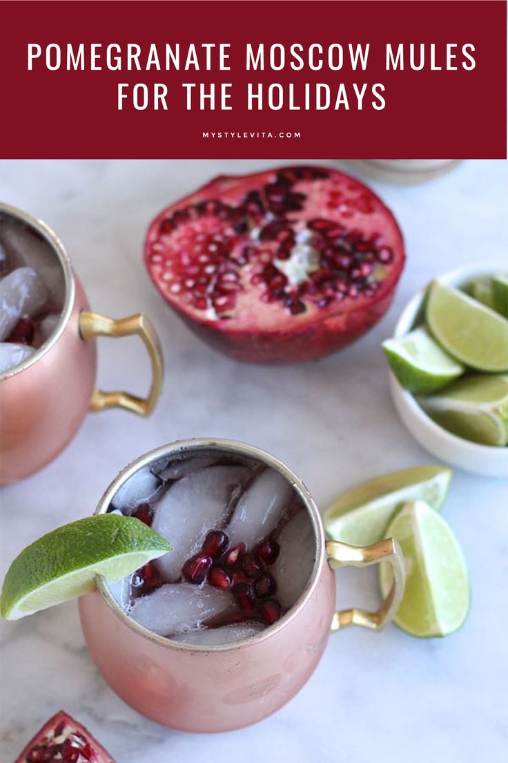 An easy pomegranate holiday moscow mule, moscow mules, holiday cocktails - My Style Vita @mystylevita
