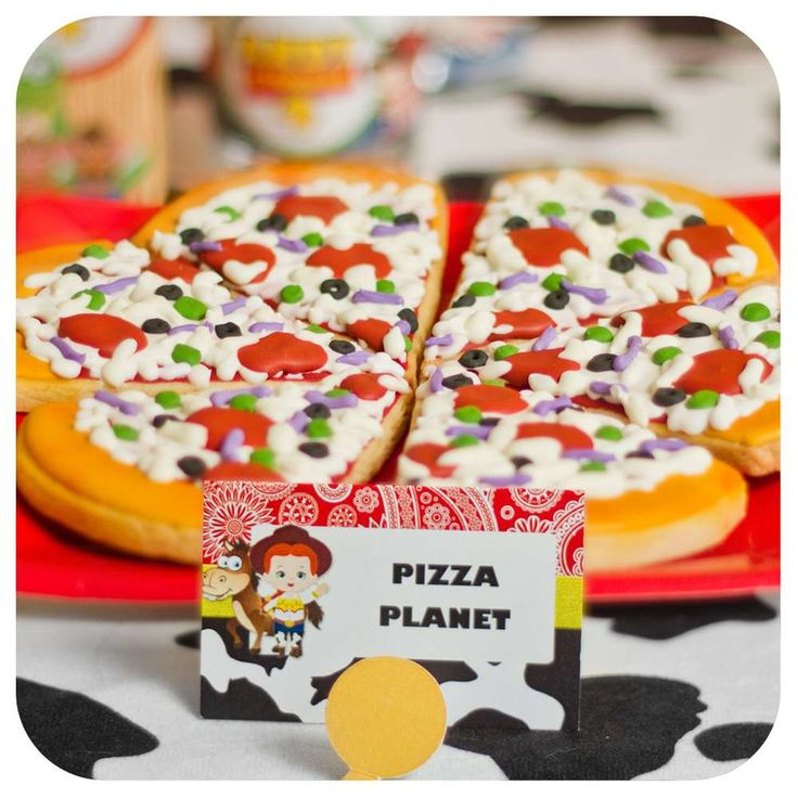 Pizza cookies at a Toy Story birthday party! See more party planning ideas at CatchMyParty.com!