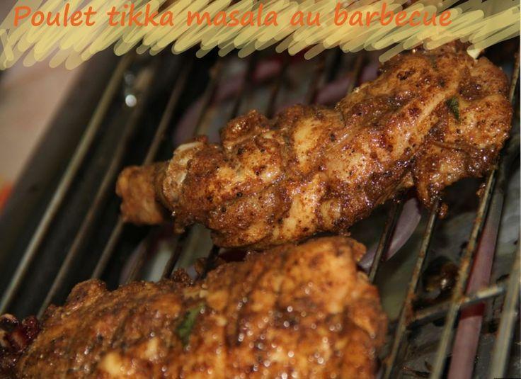 Cuisses de poulet marinées à l'indienne, cuites au barbecue, grill, plancha