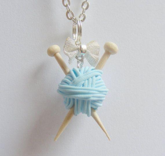 Agujas de tejer y lana collar Multi colores regalo por NeatEats