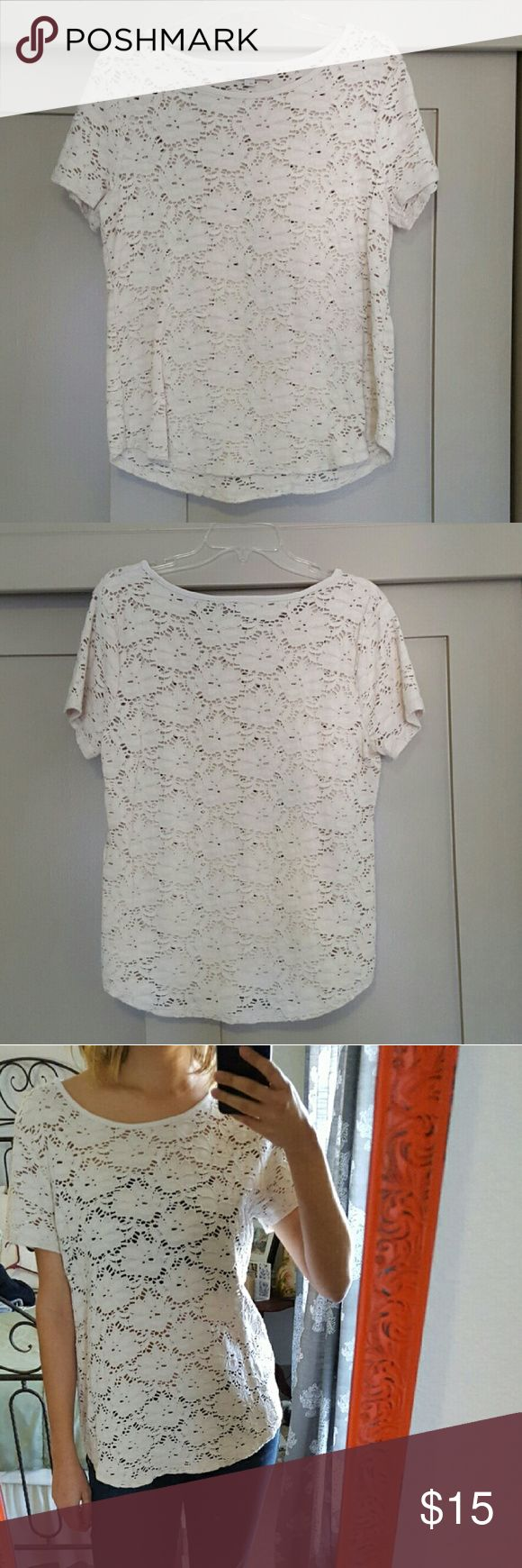 Ann Taylor Loft white lace top Great off-white layering top! Shown here with both a bandeau underneath and a nude undershirt cami, and both versions look classic. Very comfortable shirt and has the versatility to be dressed up or down. LOFT Tops