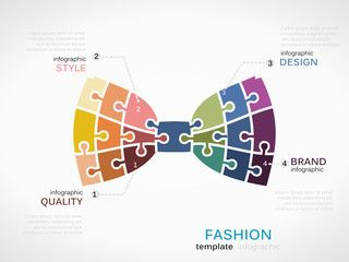 Fashion infographic template with bow tie symbol model made out of jigsaw pieces