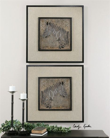 Uttermost zebra squares wall art set of 2 07670