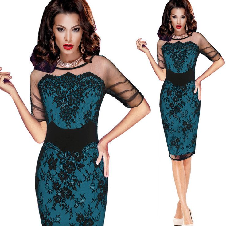 Women Slim Pencil Dress Cowl Neck Half Sleeve Lace Bodycon OL Sheath Party Dress green