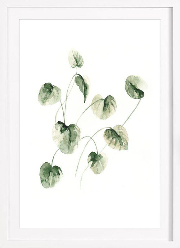 Drop Leaves als Poster im Holzrahmen von Annet Weelink Design | JUNIQE