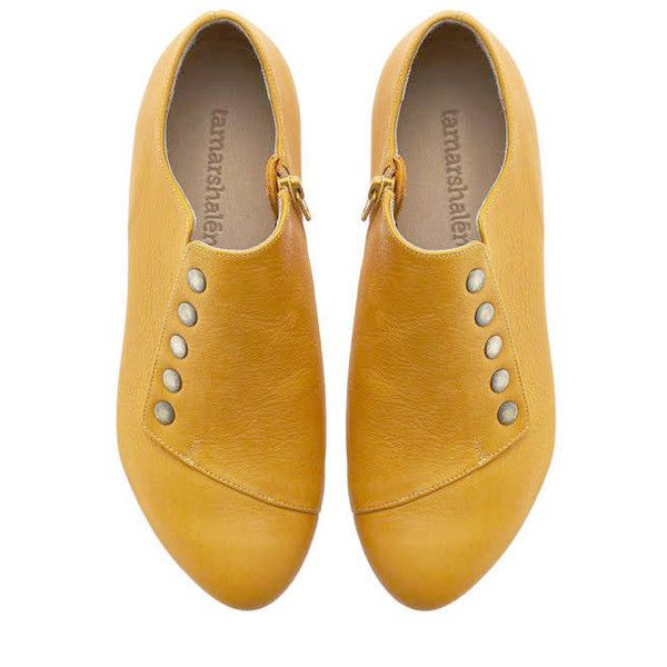 Yellow leather shoes, Grace, handmade flats ($198) ❤ liked on Polyvore featuring shoes, flat pump shoes, low heel flats, yellow shoes, yellow leather shoes and flat pumps