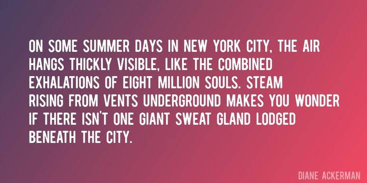 Quote by Diane Ackerman => On some summer days in New York City, the air hangs thickly visible, like the combined exhalations of eight million souls. Steam rising from vents underground makes you wonder if there isn't one giant sweat gland lodged beneath the city.