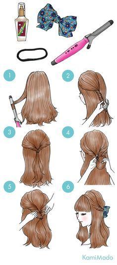 Tutorial de penteado fácil com detalhe em laço. Simples e perfeito.