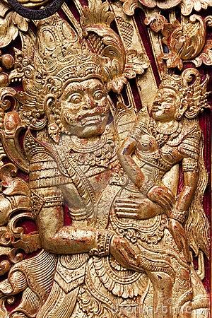 Seminyak - Pura Petitenget. Door Carving at Pura Petitenget, Bali, Indonesia