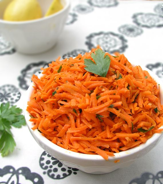 MOROCCAN RAW CARROT SALAD * 2 lbs shredded carrots, 3 T chopped parsley. Dressing: ¼ C olive oil, ⅓ C lemon juice, 2 chopped garlic cloves, 1 t salt, 1 t cumin, ⅛ t cayenne pepper.