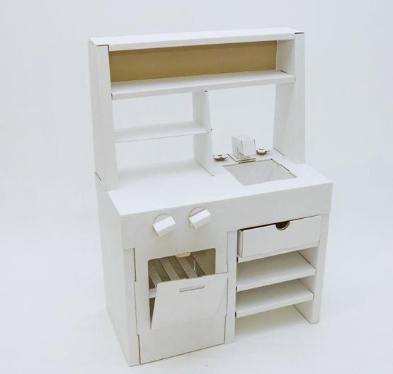 """Домик из картона """"Картонная кухня"""" (белая)"""