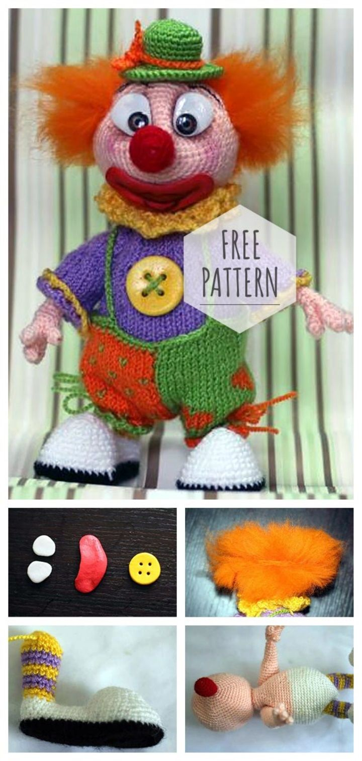 Amigurumi Clown Free Pattern Crochet Crazy Pinterest Häkeln