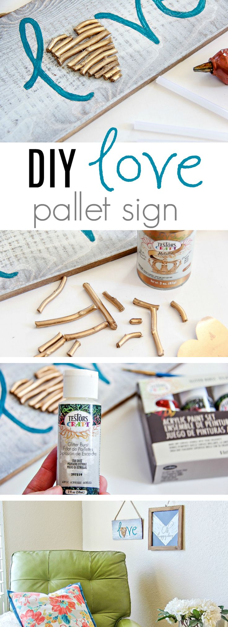 How To Make A Painted Love Sign Perfect For Valentine's Day - DIY Love Sign - Stick Craft #valentinesday #stickcraft #ad