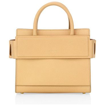 """Horizon mini leather tote by Givenchy. Structured leather silhouette with banded top panelDouble top handles, 2.5"""" dropRemovable, adjustable shoulder strap,..."""