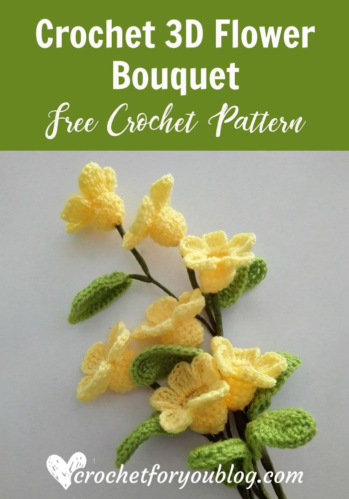 Crochet 3D flower bouquet Free Pattern | Crochet | Crochet flowers