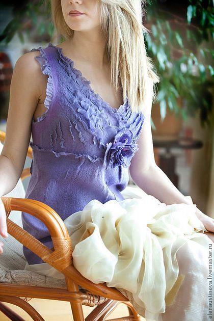 """Платья ручной работы. Ярмарка Мастеров - ручная работа. Купить Валяное платье """"Lily. Сиреневая нежность"""".. Handmade. Сиреневый, нунофелтинг"""