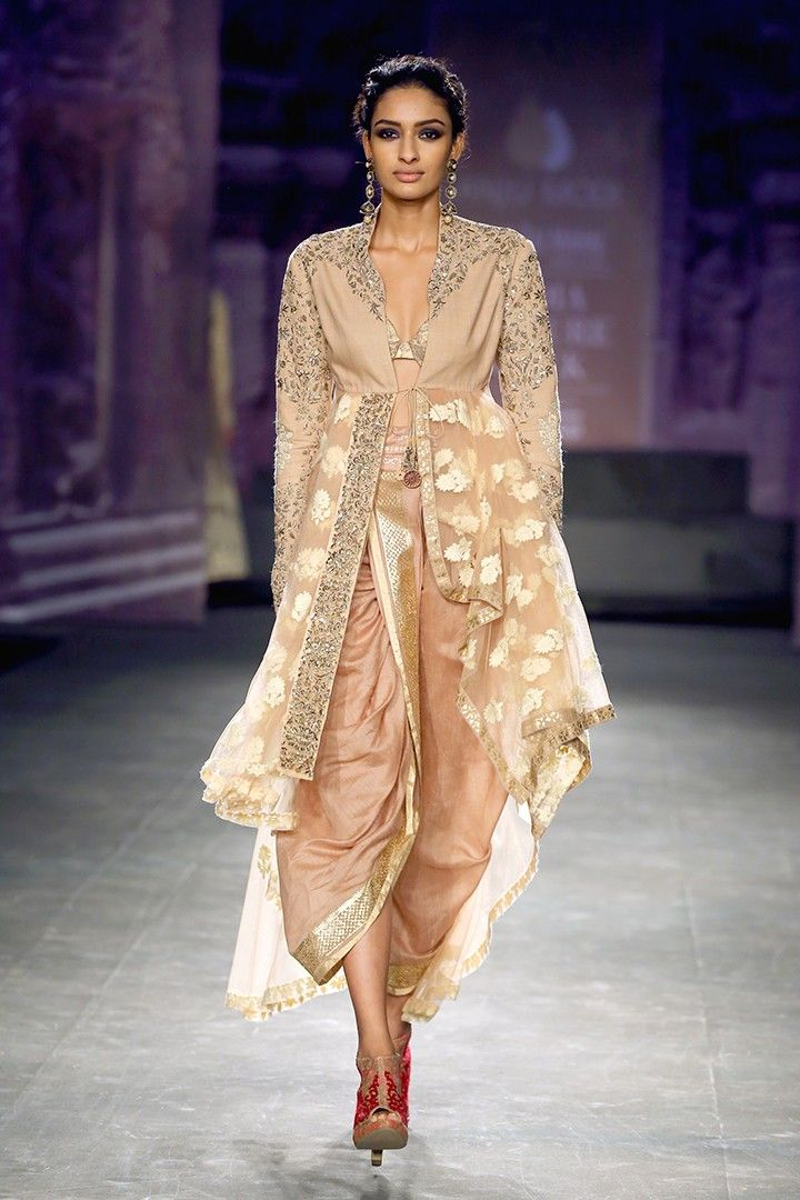 Light gold and blush dhoti and embroidered jacket set