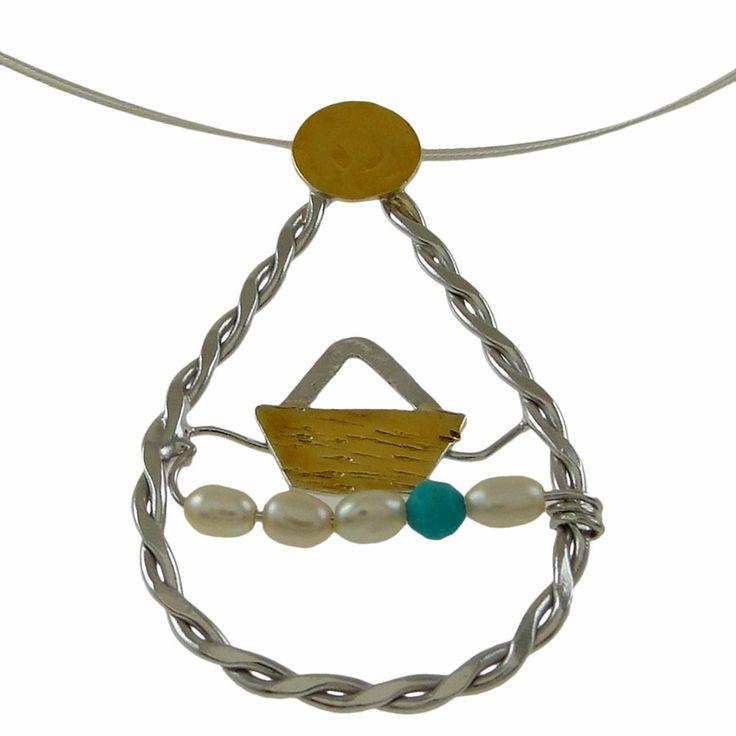 Emmanuela.gr - Χειροποίητα Κοσμήματα. Ασημένια δαχτυλίδια, σκουλαρίκια, βραχιόλια, μενταγιόν, κολιέ & καρφίτσες, γυναικεία, 2014 - Μενταγιόν :: Κρεμαστά :: Χειροποίητο Ασημένιο Μενταγιόν Κάδρο Καράβι