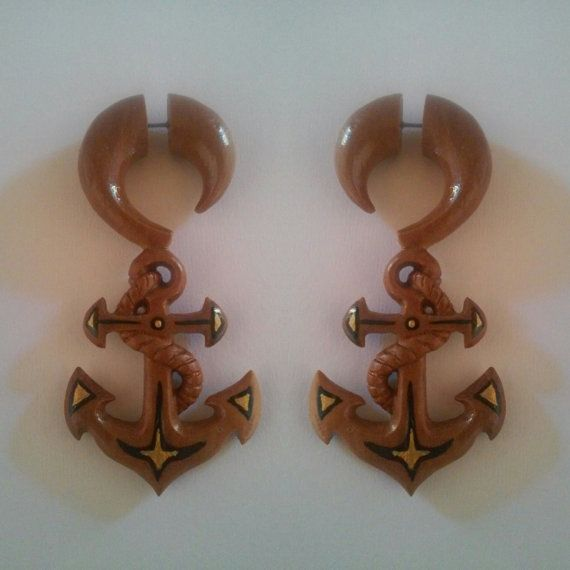 Check out this item in my Etsy shop https://www.etsy.com/listing/268381393/fake-gauge-earrings-anchor-wooden