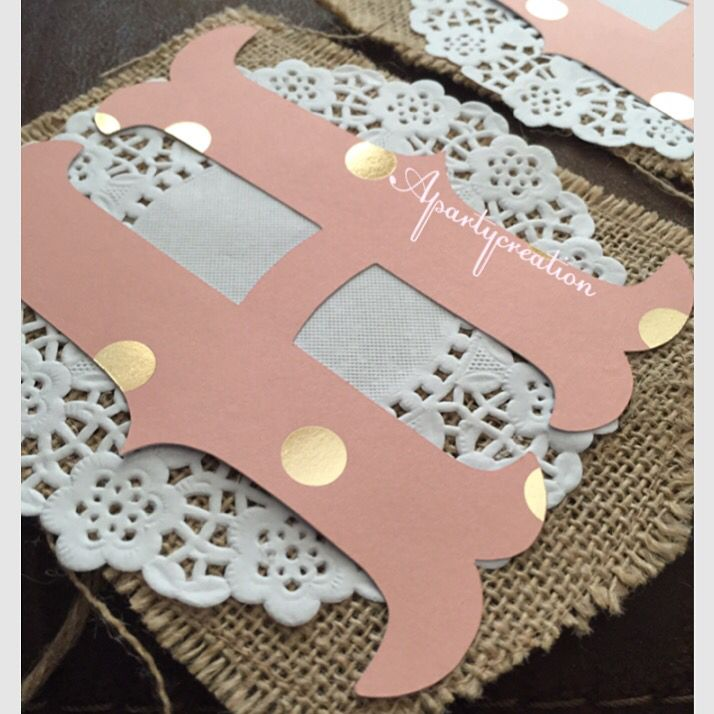 Pink and gold on doilies burlap birthday banner. For shabby cowgirl theme. Instagram @Apartycreation