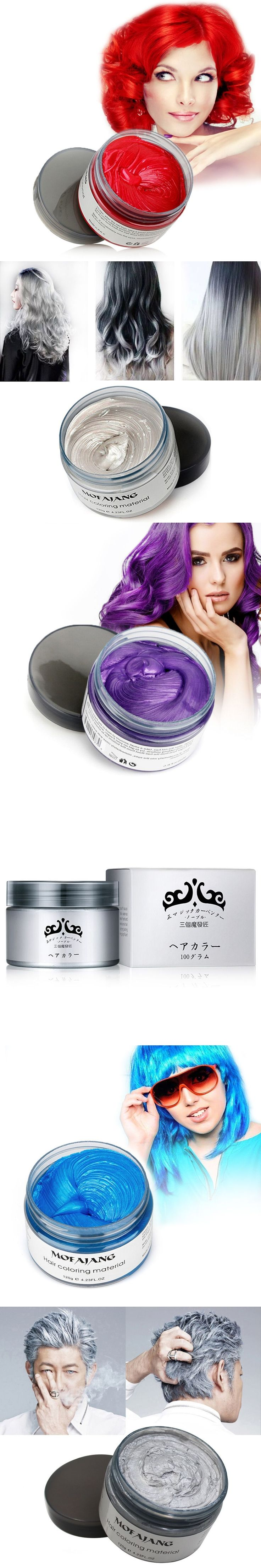Color Hair Wax Styling Pomade Silver Grandma Grey Disposable Natural Hair Strong Gel Cream Hair Dye for Women Men 120g