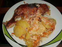 Kuřecí stehna zapečená na smetanové zelenině-děkuji Hance
