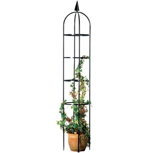 Das Gitter aus schwarz lackiertem Metall mit dem dreieckigen Akzent obenauf ist einfachin den Boden zu stecken und steht ganz fest.…