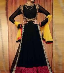Buy Black color embroidered semi stitched designer anarkali suit semi-stitched-salwar-suit online