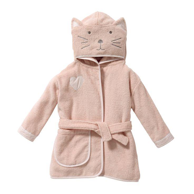 Peignoir enfant 0-2 ans en coton rose CHAT | Maisons du Monde