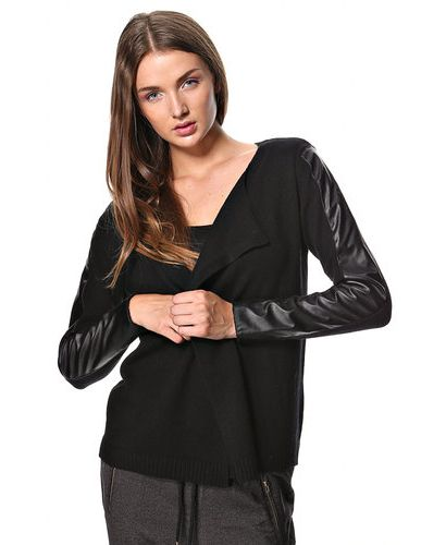 Czarny kardigan Vero Moda ze skórzanymi wstawkami na rękawach