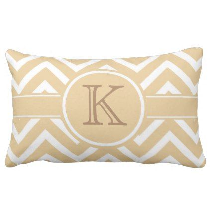 Trendy Yellow Chevron Monogram Lumbar Lumbar Pillow - #chic gifts diy elegant gift ideas personalize