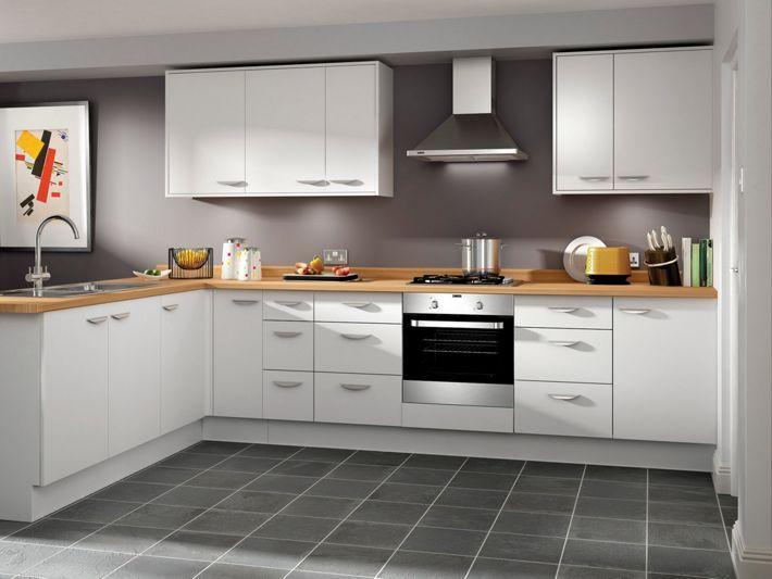 Dakota - White slab kitchen | Wickes.co.uk