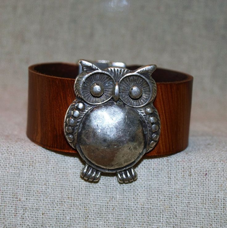 Women's leather cuff bracelet with owl slider by GratefullyInspDesign on Etsy