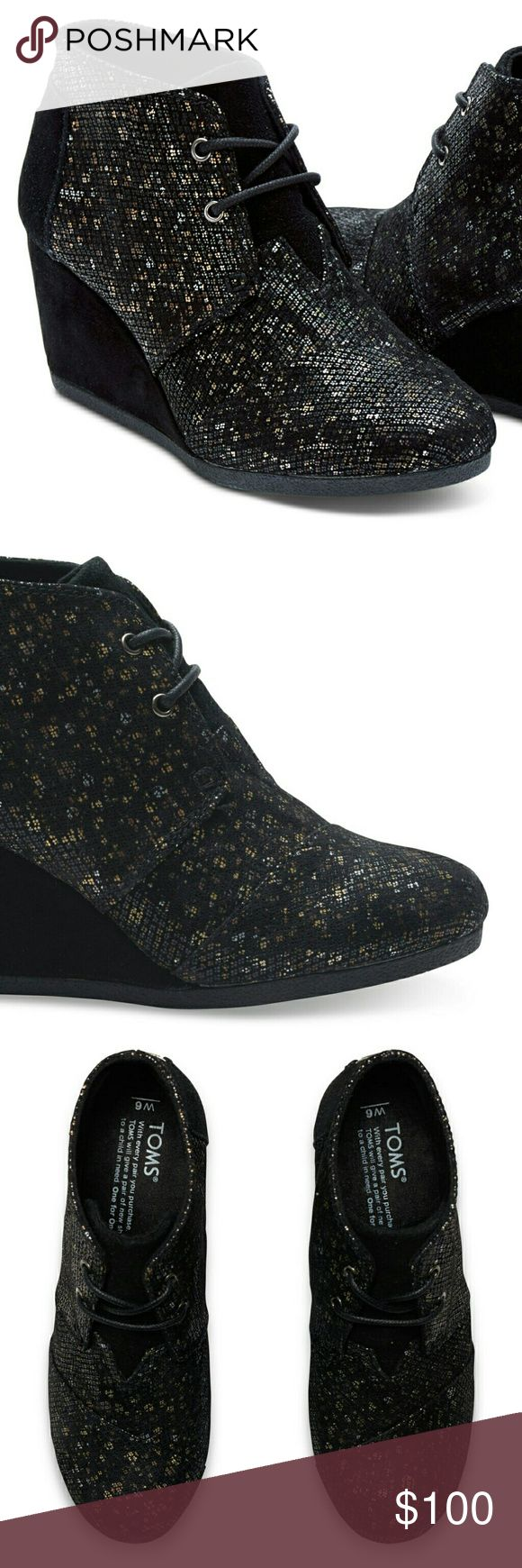 TOMS Desert Wedges Black Shimmer Print New without box.  Made with leather, these black shoes are complete with a slightly padded sole to comfort every step.  Size W6 TOMS Shoes Wedges