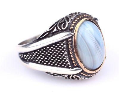 925 Ayar Gümüş Desenli Oval Mavi Akik Taşlı Erkek Yüzük