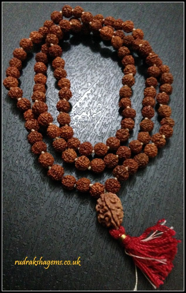TEEN MUKHI 3 FACE RUDRAKSHA RUDRAKSH JAPA MALA ROSARY 108 +1 BEAD YOGA PANCH in Collectables, Religion/ Spirituality, Hinduism | eBay