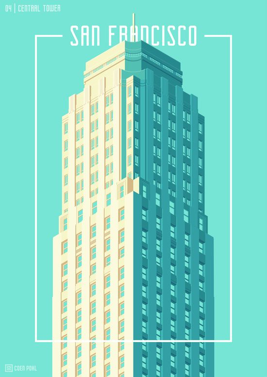 Towers of San Francisco - 04 - Central Building - Cyan Art Print