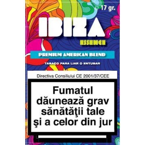 Tutun Ibiza 17 gr  Tutunul Ibiza se poate injecta in tuburi de tigari sau se poate folosi pentru a rula tigarile folosind filtre si foite speciale pentru rulat. Acest produs se adreseaza exclusiv persoanelor peste 18 ani ! Fumatul dauneaza grav sanatatii tale si a celor din jur. Directiva consiliului CE 2001/37/CEE