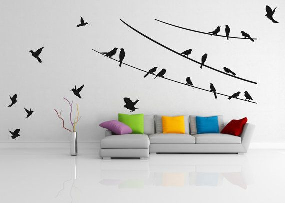 Wall decal Birds on the ropes 01 woodland   by LoonyBinWorkshop