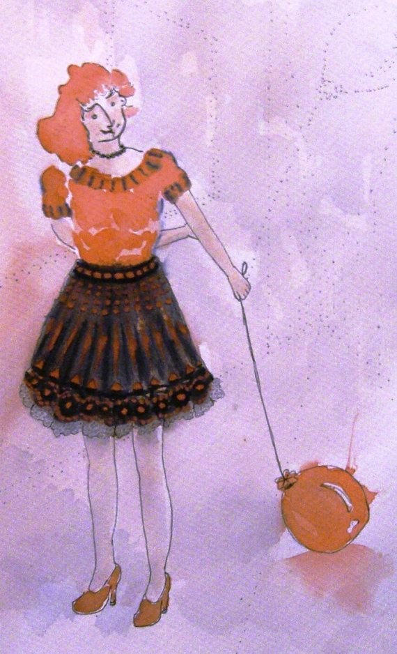 Girl with balloon Original One of a kind by TremblingRhymes