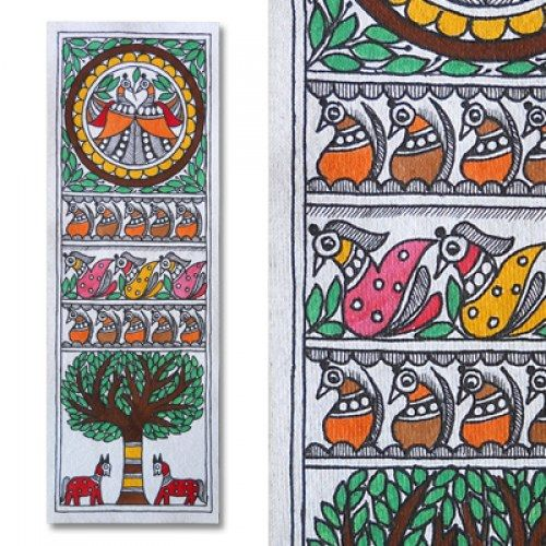 Madhubani painting featuring peacocks, tree and horses