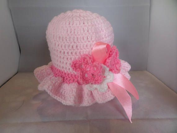 Easter bonnet baby crochet hat pale pink frilled brim 9 to
