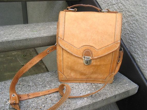 Vintage Natural Leather Mens Bag by VintageClassicWares on Etsy