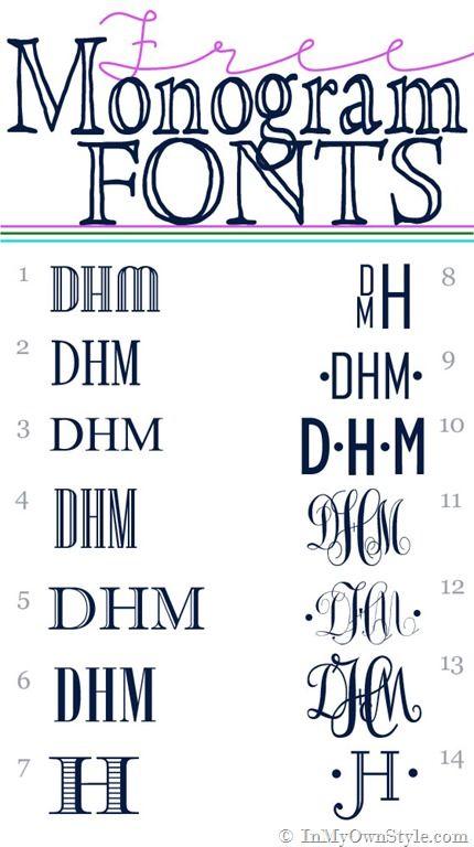 FREE Monogram fonts via @Diane Haan Lohmeyer Haan Lohmeyer Haan Lohmeyer Henkler {InMyOwnStyle.com}