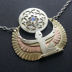 Isis Winged Goddess Pendant holding Seed of Life with Rainbow Moonstone