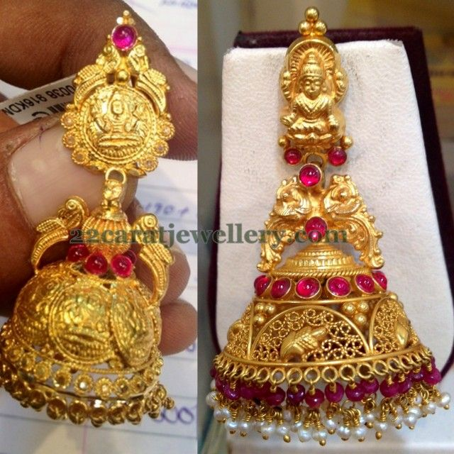 Antique Gold N Jadtar Set: 15 Grams Jhumkas For Kasulaperu